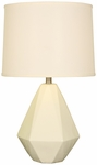 Splash Ceramic Faceted 24.75''H Table Lamp with Cream Linen Shade - Crackle [12T275CK-FS-PAS]