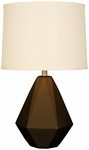 Splash Ceramic Faceted 24.75''H Table Lamp with Cream Linen Shade - Espresso [12T275ES-FS-PAS]