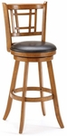 Fairfox Wood 30.5'' Bar Height Stool with Brown Vinyl Swivel Seat - Oak [4650-830-FS-HILL]
