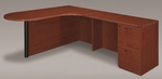 Fairplex Right Executive Corner Peninsula and Bullet L Desk - Cognac Cherry [7005-45ECP-FS-DMI]
