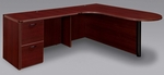 Fairplex Right Executive Corner Peninsula and Bullet L Desk - Mahogany [7006-45ECP-FS-DMI]