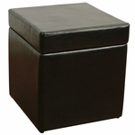 Faux Leather 18''H Box Ottman with Lift Top - Black [554664-FS-DCON]