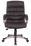 Favorite Finds Pleated Faux Leather Executive Office Chair with Back Tensioner and Padded Arms - Brown [10063DB-FS-LCK]