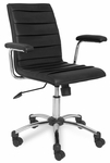 Faux Leather Pleated Desk Chair - Black [10051BL-FS-LCK]