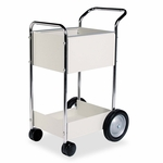 Fellowes® Steel Mail Cart - 75-Folder Capacity - 20w x 25-1/2d x 39h - Dove Gray [FEL40924-FS-NAT]
