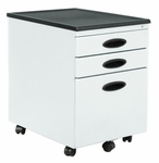 Mobile 15.75''W 22''D Locking 3 Drawer File Cabinet - White and Black [51103-FS-SDI]