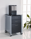 Three Drawer Filing Cabinet with Black Tempered Glass Top and Powder Coated Steel Frame [SKG02G29-FS-INV]