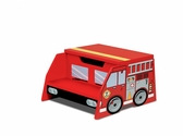 Firefighter Series Sturdy Wooden Fire Truck Step 'N Store Two Step Stool with Storage