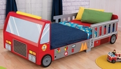 Firefighter Series Wooden Fire Truck Toddler Bed with Safety Rail Ladder Cut-Outs
