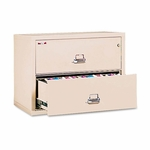 FireKing® Two-Drawer Lateral File - 37-1/2w x 22-1/8d - UL Listed 350° - Ltr/Legal - Parchment [FIR23822CPA-FS-NAT]