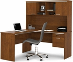 Flare L-Shaped Workstation with 1 Utility Drawer and 1 File Drawer - Tuscany Brown [90427-63-FS-BS]