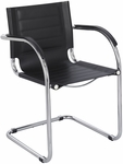 Flaunt™ 21.5'' W x 23'' D x 31.75'' H Leather Guest Chair - Black [3457BL-FS-SAF]