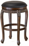 Fleur De Lis Triple Leaf Wood 30'' Bar Height Backless Stool with Black Leather Swivel Seat - Distressed Cherry and Copper Highlights [62994-FS-HILL]