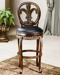 Fleur De Lis Leaf Wood 25'' Counter Height Stool with Black Leather Seat - Distressed Cherry and Copper Highlights [62969-FS-HILL]