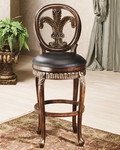 Fleur de Lis Triple Leaf Wood 31'' Bar Height Stool with Black Leather Seat - Distressed Cherry and Copper Highlights [62970-FS-HILL]
