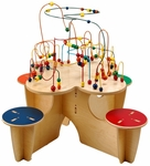 Fleur Rollercoaster 33.5''H Activity Table with 4 Attached Stools [FTC0567-FS-ANA]