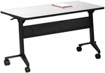 Flip-N-Go 48'' W x 18'' D Rectangular Table - Folkstone Low Pressure Laminate with Black T-Mold and Black Frame [LF1848TFLK4-FS-MAY]