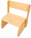 Kids Size Small Sturdy Hardwood Flip Step to Sit Stool - Natural [15321-FS-KK]
