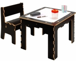 15.5''H Flip Top Dry Erase and Chalk Table with 1 Bench [FTD0568-FS-ANA]