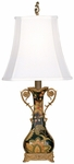 Miniature Elegance Floral Ceramic 21''H Table Lamp with White Silk Shade - Black and Yellow [07T617-FS-PAS]