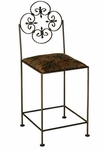 Florentine 24'' Wrought Iron Counter Stool with Upholstered Seat [GMC-FL-24-FS-GCM]