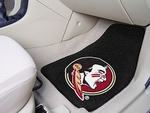 Florida State University 2-piece Carpeted Car Mats 18'' x 27'' - Mascot Design Black [5236-FS-FAN]