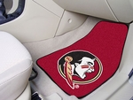 Florida State University 2-piece Carpeted Car Mats 18'' x 27'' - Mascot Design Burgundy [5080-FS-FAN]