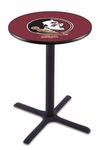 Florida State University 36''H Black Wrinkle Finish Counter Height Pub Table with X-Base [L211B36FSU-HD-FS-HOB]