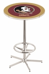 Florida State University 42''H Chrome Finish Bar Height Pub Table with Foot Ring [L216C42FSU-HD-FS-HOB]