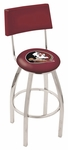 Florida State University 25'' Chrome Finish Swivel Counter Height Stool with Cushioned Back [L8C425FSU-HD-FS-HOB]
