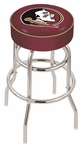 Florida State University 25'' Chrome Finish Double Ring Swivel Backless Counter Height Stool with 4'' Thick Seat [L7C125FSU-HD-FS-HOB]
