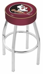 Florida State University 25'' Chrome Finish Swivel Backless Counter Height Stool with 4'' Thick Seat [L8C125FSU-HD-FS-HOB]