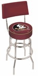 Florida State University 25'' Chrome Finish Swivel Counter Height Stool with Double Ring Base [L7C425FSU-HD-FS-HOB]