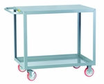 Flush Top Welded Service Cart With 2 Shelves And 25'' Shelf Clearance [LG-1832-BRK-LGC]