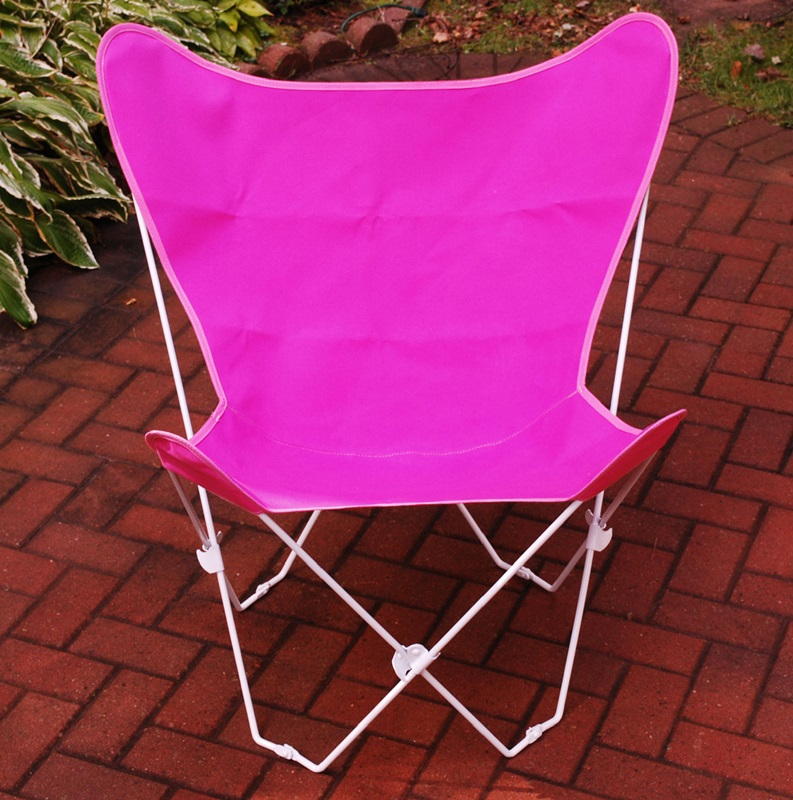 Folding Butterfly Chair with White Steel Frame and Cotton Cover Pink