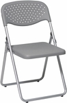 Work Smart Folding Chair with Ventilated Plastic Seat and Back - Set of 4 - Grey with Silver Frame [FC8000NS-2-OS]