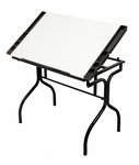 Black Steel Folding Craft Station with White Adjustable Angle Top - Black [13221-FS-SDI]
