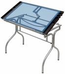 Blue Tempered Glass and Steel Folding Craft Station with Storage Trays - Silver [13220-FS-SDI]