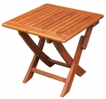 Outdoor Solid Wood 18.9''W X 17.7''H Folding Side Table - Oiled Finish [OT-53938-FS-WHT]