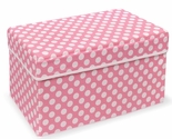 Folding Storage Seat - Pink Polka Dot