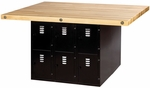 Four Station Steel Workbench with Vertical Locker Storage Base [WB12BL-0V-SHA]