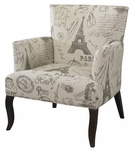 French Calligraphy Wing Chair [409-936-FS-PO]