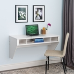 Designer 42.5''W Floating Desk with 3 Open Storage Compartments - White [WEHW-0500-1-FS-PP]