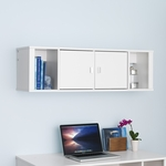 Designer 42.5''W Floating Hutch with 2 Open Storage Compartments and 2 Doors - White [WSUW-0502-1-FS-PP]