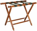 Wooden 20''H Luggage Rack with Reeded Legs and Pineapple Finials - Fruitwood [LR-106-FS-PAS]