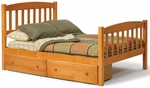 Rustic Style Solid Pine Mission Bed with Underbed Storage - Full - Honey [3643460-S-FS-CHEL]