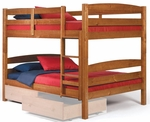 Rustic Style Solid Pine Bunk Bed - Full - Honey [3641540-FS-CHEL]