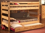Rustic Style Solid Pine Bunk Bed with Trundle - Full - Cinnamon [3544144-4739-T-FS-CHEL]