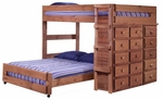 Full Over Full Loft Bed with 5 and 10 Drawer Chests - Mahogany Stain [315010-FS-CHEL]