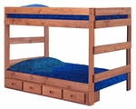 Rustic Style Solid Pine 1 Piece Bunk Bed with Storage - Full - Mahogany Stain [312010-411-S-FS-CHEL]